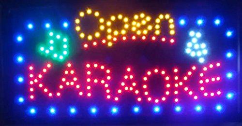 CHENXI Large size hot sale running LED Neon Light sign Led Karaoke/Music shop open Signage 15.5 X 27.5 inch(40 X 70 CM) (70 X 40 CM, karaoke open)