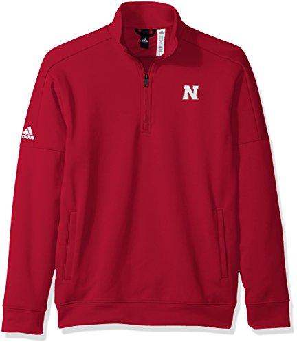 Logo Performance Fleece Pullovers - adidas NCAA Nebraska Cornhuskers Mens Lc Logo Team Issue Fleece 1/4 Zip Pulloverlc Logo Team Issue Fleece 1/4 Zip Pullover, Power Red, Medium