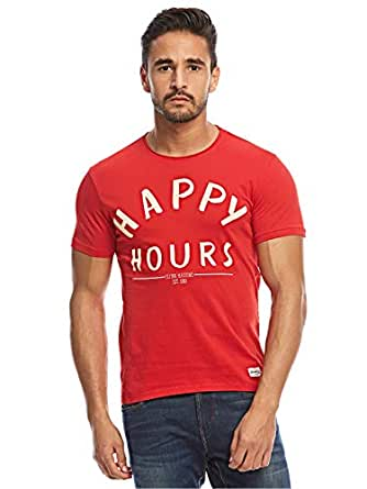 Flying Machine Red Round Neck T-Shirt For Men