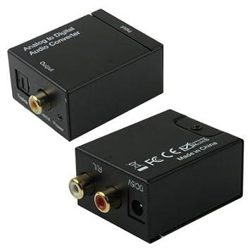 Conversor de Audio Analógico RCA Cable Óptico Toslink a Coaxial Digital
