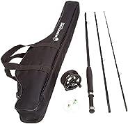 Fly Fishing Starter Set- 8' Fiberglass Rod, Aluminum Reel, Travel Bag, 12 Dry Flies &