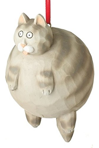 Grey Tabby Fat Cat Christmas Tree Ornament