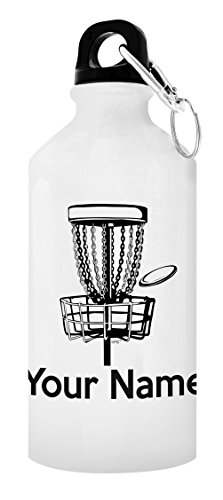ThisWear Customized Disc Golf Equipment Customized Disc Golf Water Bottle Personalized Gift Aluminum Water Bottle with Cap & Sport Top White