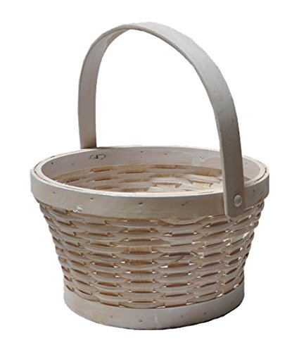 The Lucky Clover Trading Woodchip Swing Handle, Small Basket, White