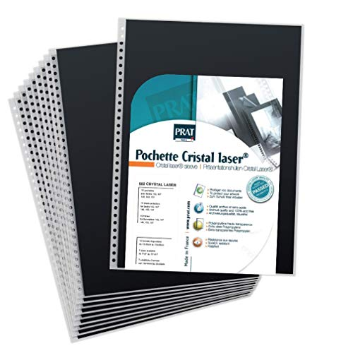 (Prat Cristal 502 Refill for Spiral Books, Multi-Ring Sheet Protectors with Black Paper Insert, 12.5 X 9.5 inches, Pack of 10 (502-12.5X9.5))