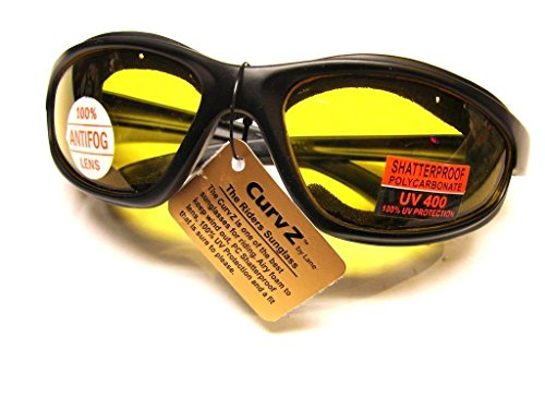 CurvZ #02-04 Yellow Motorcycle Soft Foam -No Wind Sunglass -Bikers Choice for Low Light and Night Riding - - Curves Sunglasses