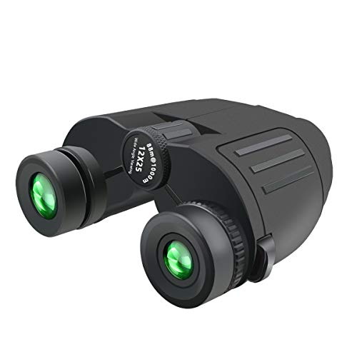 Compact Binoculars for Adults/Kids, 12×25 Mini and Lightweight Folding Waterproof Binoculars Easy Focus with FMC Lens for Bird Watching, Hunting, Hiking, Concert, Sports, Travel