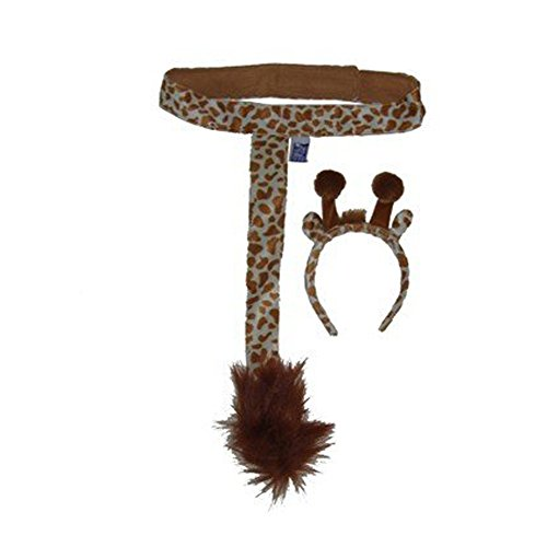 Kids Giraffe Plush Headband Ears Tail Safari Dressup Costume Set]()