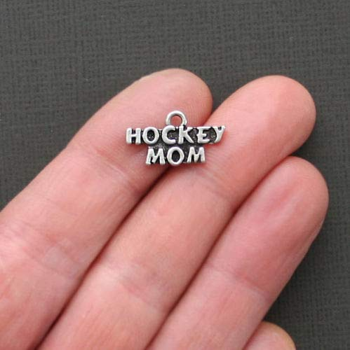 Charm Mom Hockey - Jewelry Making 5 Hockey Mom Charms Antique Silver Tone Go Team - SC1790 Perfect for Pendants, Earrings, Zipper pulls, Bookmarks and Key Chains