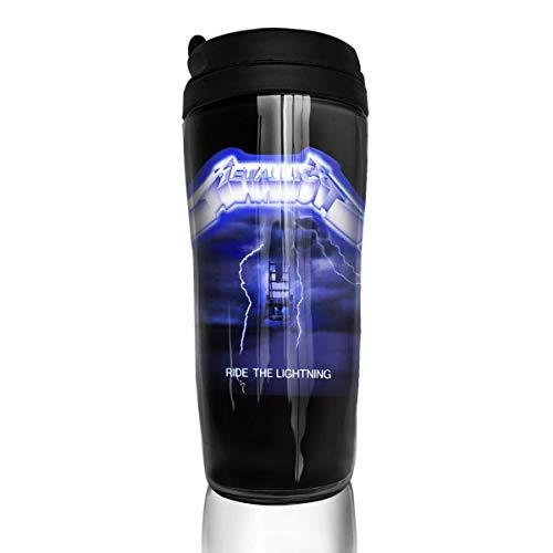 Insulated Water Bottle, Metallica Ride The Lightning Album, Iced Espresso Small Coffee Mug Reusable Plastic Curve Travel Mug for Kids Teens Adults