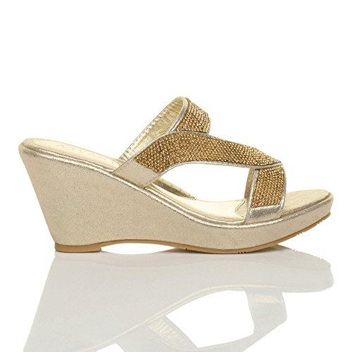 Damen Hohe Keilabsatz T-Riemen Strass Pantoletten Plateau-Sandalen Größe Gold
