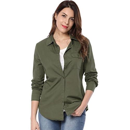 Allegra K Women's Chest Pocket Button Closure Military Shirt for cheap