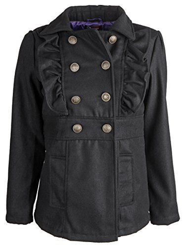 Peacoat Ruffle (Shampoo Little Girls Double Breasted Wool Trench Dressy Winter Peacoat Jacket - Black Ink (Size 6X))