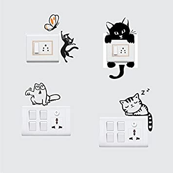 Buy Stickersyard Lovely Cat Wall Decal Switchboard Sticker Color Black Pvc Vinyl Matte Sheet Size 25cm X 25cm Set Of 4 Online At Low Prices In India Amazon In These come with transfer paper for easy application. buy stickersyard lovely cat wall decal