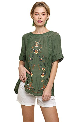 Umgee Women's Short Sleeve Embroidered Blouse Olive (Small, Olive)