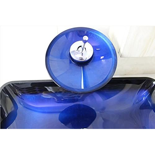 HYY@ Bathroom Tempered Glass Container Sink Set / Faucet / Mounting Ring and Drainage (560 360 100 10mm) delicate