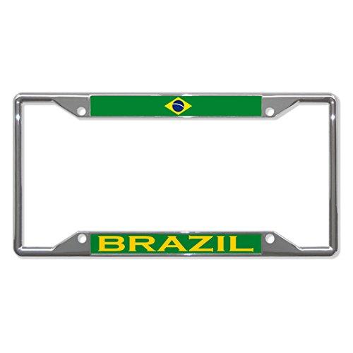 (Brazil Flag Country Chrome License Plate Frame Tag Holder Four Holes)