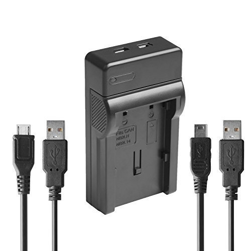 PHOTO MASTER NB-2L Super Thin Portable USB Travel Charger for Canon NB-2L/NB-2LH, Canon EOS 350d,400d,Canon Powershot S45, S50, G7,G9 Bonus 2 USB Cables -More Models Stated Below