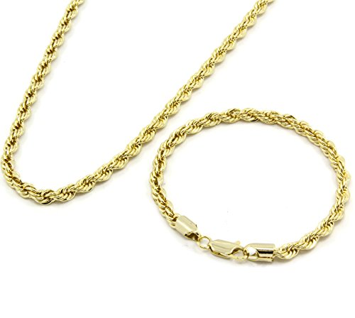 Gold Tone Hip Hop Rope Dookie Chain 5mm 20