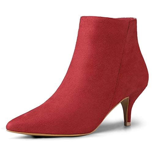 (Allegra K Women's Pointed Toe Side Zip Stiletto Red Ankle Boots - 9 M US)