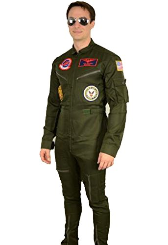 Maverick Top Gun Costumes - Top Gun Maverick / Goose Costume + Sunglasses Party Men Flight Suit Jumpsuit (M)