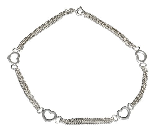 Sterling Silver 10 inch Triple Strand Chain and Open Hearts - Strand Bracelet Open Heart