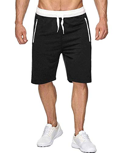 Voncheer Mens Elastic Waist Drawstring Summer Workout Shorts with Zipper Pockets (S, Black Shorts with Back Pocket)