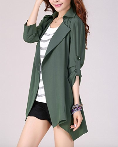 Coat Cardigan Femme Manteaux WSLCN Mince Veste Asym Lache Trench qTgS4X