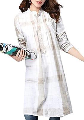 WSPLYSPJY Women Long Sleeve Plaid Casual Shirt Dress Tunic Top