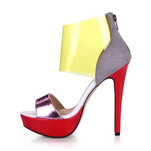 DolphinGirl Women Red Platform Golden Ankle Strap 14CM High Heel Sandals Stiletto Ladies Pumps SM00288 Gold zgz7vyUg0
