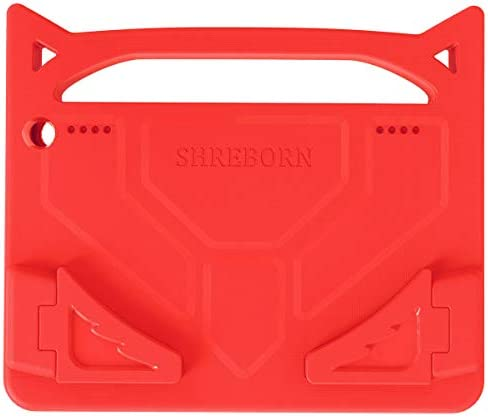 "2020 HD 8 & 8 Plus Tablet Kids Case(tenth Generation, 2020 Release), SHREBORN [Kids-Friendly] Light Weight Shock Proof Case with Handle Stand for HD 8"" Tablet(Red)"