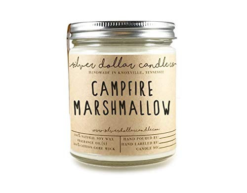 8oz Campfire Marshmallow Scented Candle - Natural Eco-Friendly Hand-Poured Soy Wax by Silver Dollar Candle Co. ()