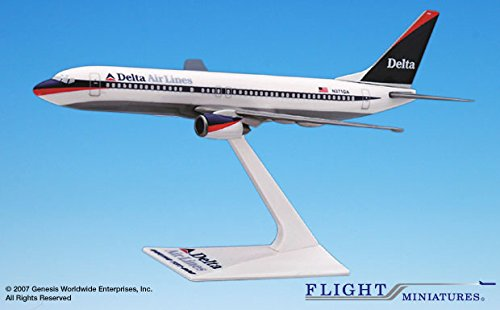 (Flight Miniatures Delta Airlines 1997 Boeing 737-800 1:200 Scale 1997 Livery REG#371DA Display Model with Stand)