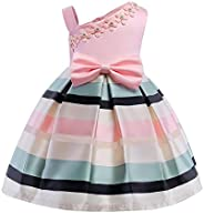 Vinjeely Girls Flower Stitching Bowknot Princess Gown Birthday Party Wedding Dress