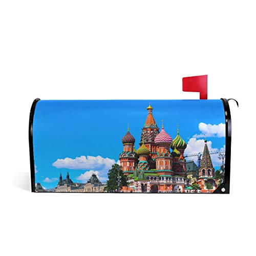 HEOEH Unique Moscow Bulding Blue Sky Magnetic Mailbox Cover Home Garden Decorations Oversized 25.5 x 20.8 inches