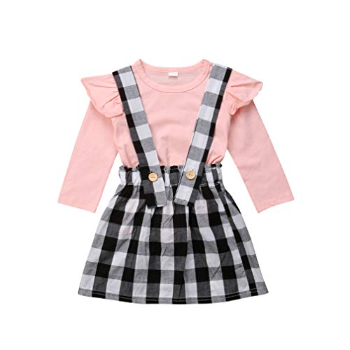 Specialcal Baby Girls Velvet Suspender Skirt Infant Toddler Ruffled Casual Strap Sundress Summer Outfit Clothes (6-12M, Pink+Black ()