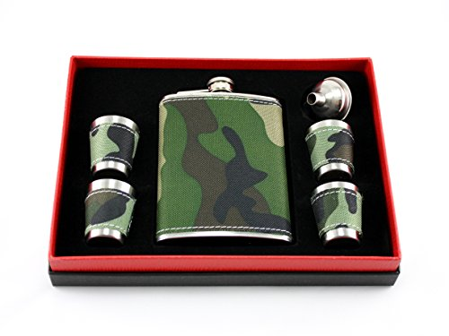 Camouflage Stainless Steel Flask Gift Set Camo - Green Brown