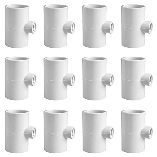 (Cruzadel 12 Pack - PVC Tee Fittings for Threaded Poultry Nipples Chicken Waterer - Schedule 40 PVC 1/2 inch Slip X 1/2 inch Slip X 1/8 inch FPT)