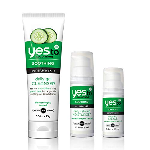 Yes To Cucumbers Face Kit (Soothing Eye Gel, Gel Cleanser, Daily Calming Moisturizer)