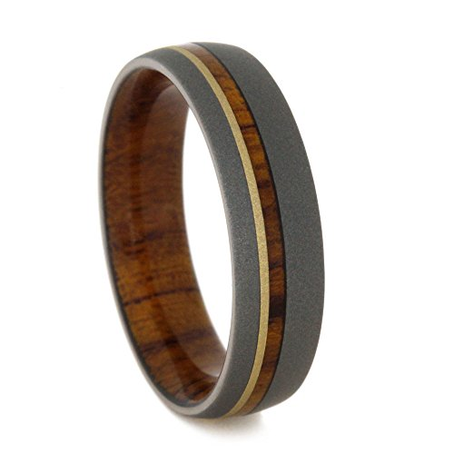 (Ironwood, 14k Yellow Gold Pinstripe 6mm Comfort-Fit Sandblast Titanium Wedding Band, Size 10.25)