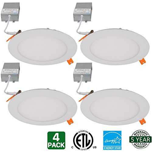 Hykolity 15W 6 Inch LED Slim Recessed Ceiling Light, 960lm CRI90, 3000K Warm White, Low Profile Downlight with Juction Box Dimmable, ETL& Energy Star Listed 4 Pack
