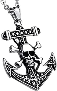 One Piece Skull ship's anchor Titanium steel pendant necklace