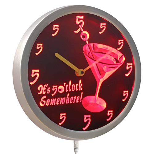 ADVPRO nc0459-r It's 5 O'clock pm Somewhere Cocktails Bar Beer gift Neon LED Wall Clock