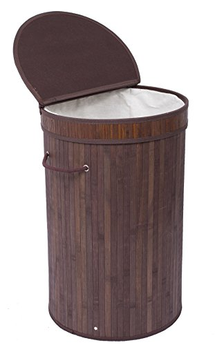 Round Laundry Basket (BirdRock Home Round Laundry Hamper with Lid and Cloth Liner | Bamboo | Espresso | Easily Transport Laundry Basket | Collapsible Hamper | String Handles)