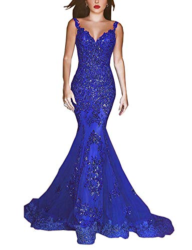 gsunmmw Sexy Mermaid Prom Dresses 2019 Sheer Neck Illusion Back Lace Bead Formal Evening Party Gown GS124 Royal Blue