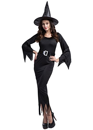 [Gothic Wicked Fairy Witch Costume Sorceress Dress Up & Role Play Fancy Dress Size XL] (Fandom Halloween Costumes)