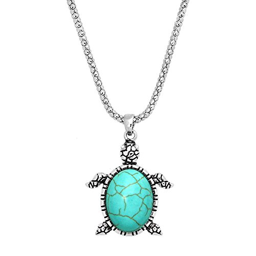 New Rhinestones Turquoise Turtle Silver Plated Pendant Necklace 17 inch Chain