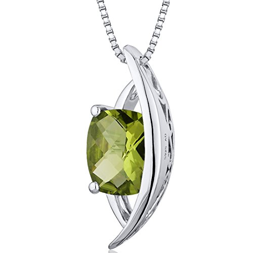 Intricate 1.50 carats Radiant Checkerboard Cut Sterling Silver Rhodium Finish Peridot Pendant