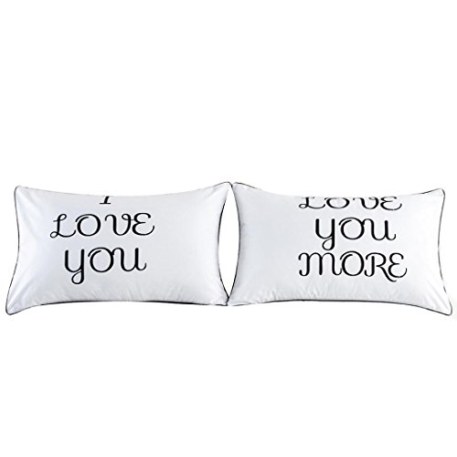- Amiley Set of 2 Couples Pillow Cases Letters Printed Casual Pillowcases Bedding Wedding Anniversary Romantic Gift (D)
