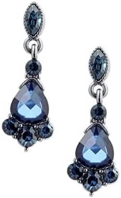 1928 Jewelry Victorian-Inspired Jet-Tone Blue Crystal Drop Earrings